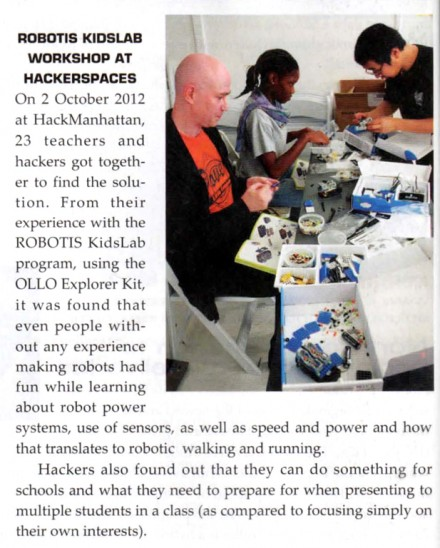 Hack Manhattan and Robotis in Robot Magazine