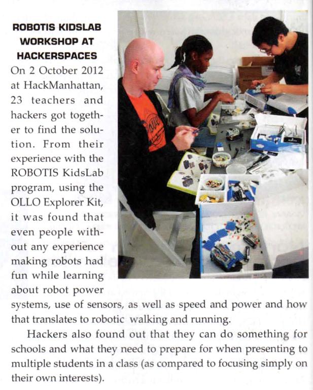 Hack Manhattan and Robotis in Robot Magazine
